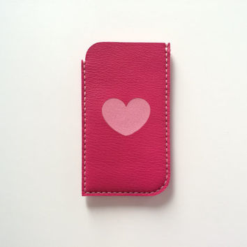 Leather Phone Pouch Phone Case Phone Sleeve / for iphone 6 iphone 5 5S iphone 5C iphone 4 4S samsung galaxy s3 s4 s5, Fuchsia and Heart