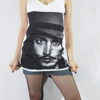 JOHNNY DEPP Tim Burton Actor Sweet Bird Of Youth Film Vest Tank Top Women White Tunic Top Sleeveless Singlet Johnny Depp T-Shirt Size S M