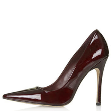 GALLOP Patent Court Shoes - Burgundy