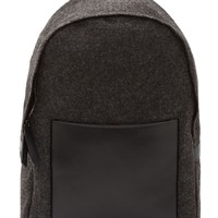 Marni Charcoal Felt And Black Leather Backpack