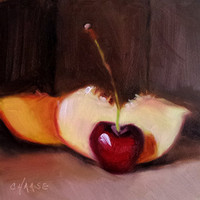 Small Original Oil Painting, 5 x 5, Cherry-osity