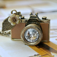 Tan Leather Camera Necklace