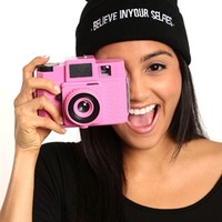 Knit Beanie with Embroidered Believe in Your Selfies