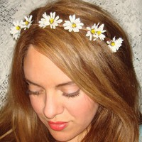 Wildflower Headband, Halo Headband, Accessories, Flower Headband, Crown Headband, Daisy Flower, White flower