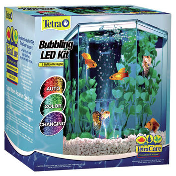Tetra 1 Gallon Bubbling Hexagon Aquarium Kit