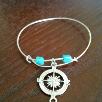 Handmade silver nautical charm bracelet with teal beads