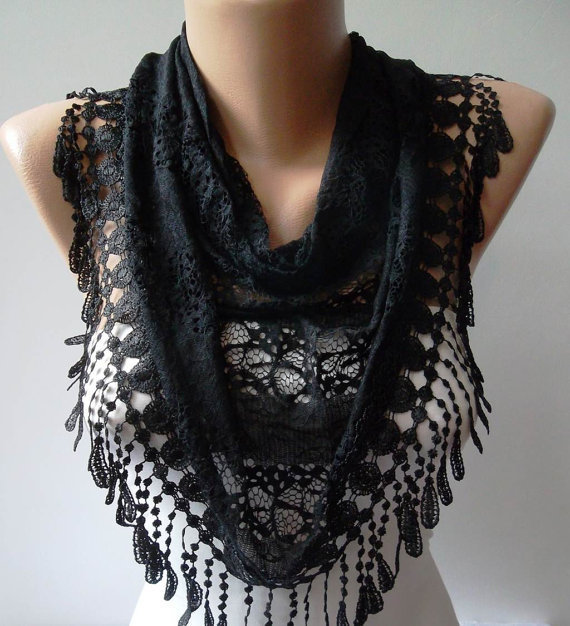 Laced Black Scarf with Black Trim Edge  - Laced Fabric..-