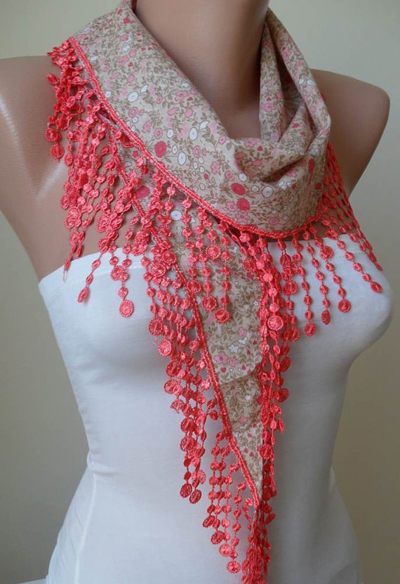 Salmon Flowered Scarf with Salmon Trim Edge - Spring Trend