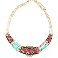 Red and Turquoise Tribal Collar Necklace