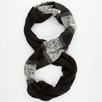Plaid/Solid Infinity Scarf Black Combo One Size For Women 24512414901