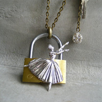 Funky Ballerina Necklace - Padlock And Key - Rhinestone Ball - Sterling Silver - Piece Lust