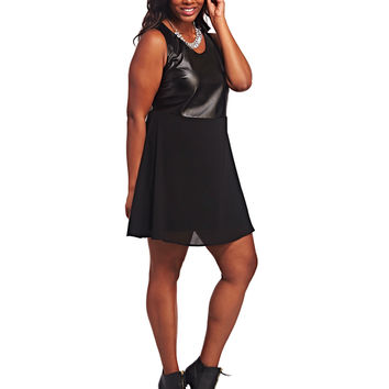 Faux Leather & Chiffon Skater Dress | Wet Seal+