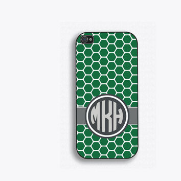 Green Honeycomb Monogram Phone Case, for iPhone 5, iPhone 5s, iPhone 5c, iPhone 4, iPhone 4s, Galaxy S3, S4 and S5.  FCM-150