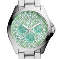 Women's Fossil 'Cecile' Pave Dial Multifunction Bracelet Watch, 40mm
