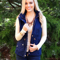 Going Glamping Navy Fur Lined Vest