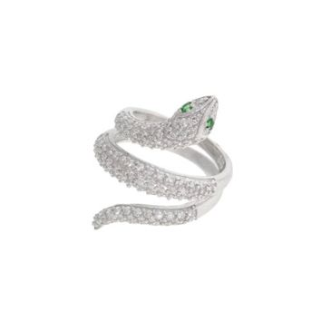 Sterling silver with CZ Wrap Around Mid Finger Coil Snake Ring With Green Eyes