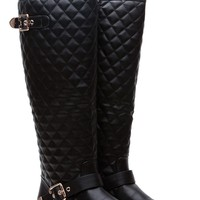 Black Faux Leather Knee High Quilted Buckle Up Boots @ Cicihot Boots Catalog:women's winter boots,leather thigh high boots,black platform knee high boots,over the knee boots,Go Go boots,cowgirl boots,gladiator boots,womens dress boots,skirt boots.