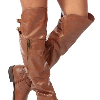 Chestnut Faux Leather Over the Knee Zipper Accent Biker Boots @ Cicihot Boots Catalog:women's winter boots,leather thigh high boots,black platform knee high boots,over the knee boots,Go Go boots,cowgirl boots,gladiator boots,skirt boots.