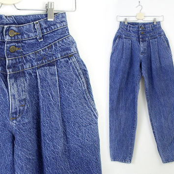 "Vintage 80s 90s High Waist Acid Wash Tapered Leg Jeans - Women's Lee Blue Denim Pleated Baggy Mom Jeans - 27"" Waist"