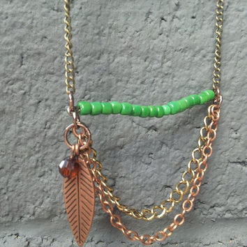 Long Boho Style Green Necklace with Chains and a Feather |Bar Necklace||Feather Necklace| |Bohochic| Multi-chain| Fall Fashion