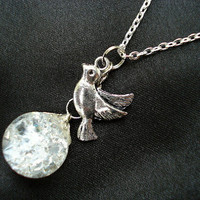 Peace Dove Bird Glass Fried Marble Chain Necklace