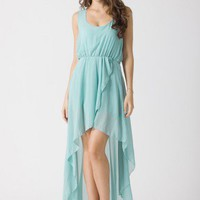Turquoise Asymmetric Waterfall Dress by Chic+ - Dress - Retro, Indie and Unique Fashion