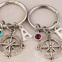 Two Best Friend Compass Keychains | Best Friend Gift | Birthstone Monogram Keychain | Custom Alphabet Charm | Gift for Best Friend | Keyring