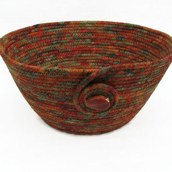Coiled Fabric Bowl, Basket, Green and Rust