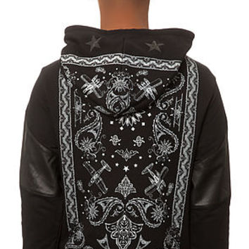 The Paisley Terry Hoodie in Black