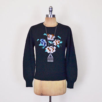 Rose Floral Sweater Jumper Fall Floral Print Sweater Black Sweater Knit Sweater 70s Sweater 70s Hippie Sweater 80s Women S Small M Medium