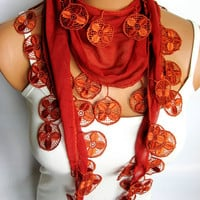 2012 Trend Dark Orange Scarf, Turkish Fabric Fringed Guipure Scarf ..bandana,headband,wedding,bridal,authentic, romantic, elegant,