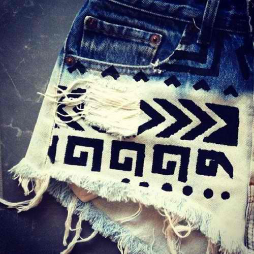 Ombre Tribal High Waisted Shorts  SALE