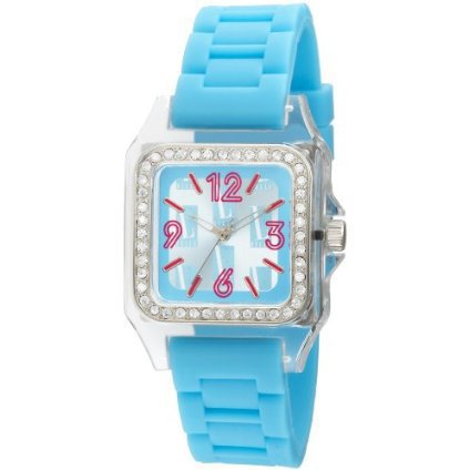 L by ELLE Women's LE50011P04 Blue Plastic Stones Blue Dial Watch - designer shoes, handbags, jewelry, watches, and fashion accessories | endless.com