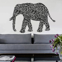 Tribal Elephant  - Removable Vinyl Wall Decal Art Decor Sticker Mural Modern Nature Animals