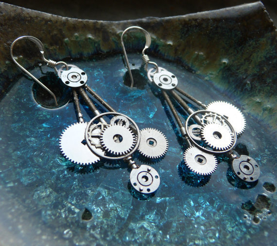 "RESERVED Earrings Gearrings ""UFOs"" Elegant Recycled Mechanical Watch Gear Earrings Dangle Style Sterling Silver French Hook Steampunk Gears"