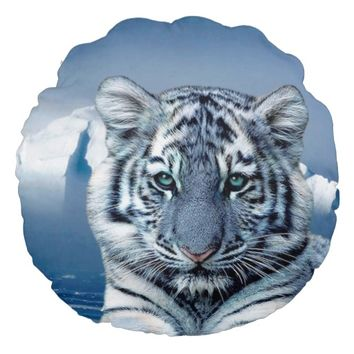 White Tiger Round Throw Pillow