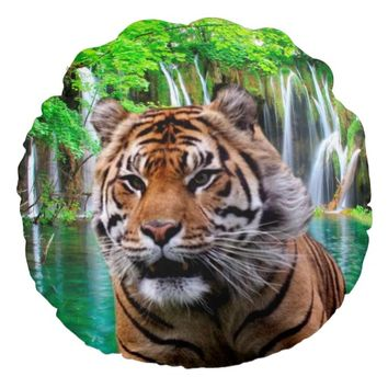 Sumatran Tiger Round Throw Pillow