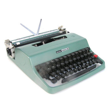Working typewriter Olivetti Lettera teal blue great working condition vintage lightweight portable  new ribbon portable vintage office decor