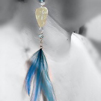 Earrings - Guitar Picks, Feathers, Crystal Beads, Turquoise, Aqua, Ivory, White, Clear, Sterling Hooks -OOAK Jewelry