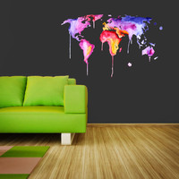 Full color Wall Decal Vinyl Sticker Decals Art Decor Design Map Watercolor paint countries City Nursery Bedroom Dorm (rcol35)