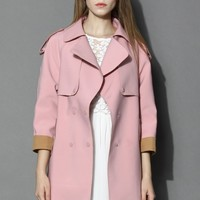 Smoky Pink Cocoon Trench Coat Pink