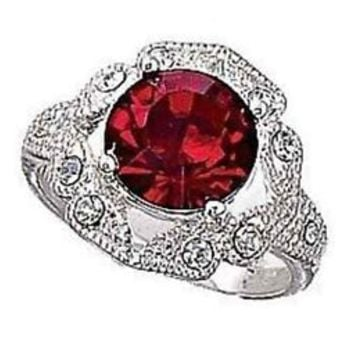 Avon Red Colletta Silvertone Ring with Accent stones NEW Size 8