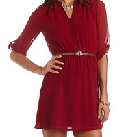 THREE-QUARTER SLEEVE BELTED CHIFFON SHIRT DRESS