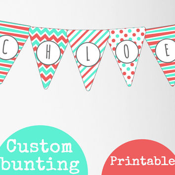 Mint and peach personalised bunting printable download. Party decor, your name here, girls room wall decor downloadable digital art.