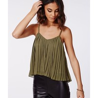 Missguided - Amorie Pleated Cami Top Khaki