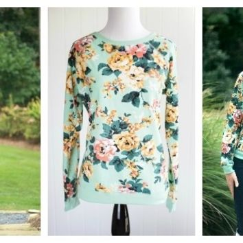 Mint Floral Pullover