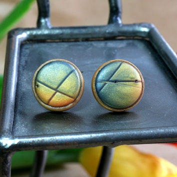 Polymer stud Earrings,  Contemporary Jewelry by JagnaB