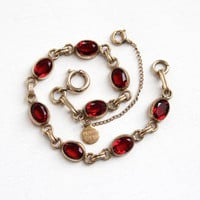 Vintage 12K Yellow Gold Filled Simulated Ruby Bracelet - Retro 1960s Oval Faceted Dark Red Stone Bracelet Jewelry Hallmarked Catamore