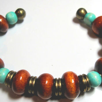 Brown and Turquoise Bangle Bracelet Antique Brass Wood OOAK