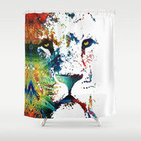 Colorful Lion Art By Sharon Cummings Shower Curtain by Sharon Cummings